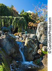 Garden Water Feature - Wonderful garden waterfall flowing...