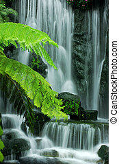 Garden waterfalls - Japanese Zen Garden Waterfalls in slow...
