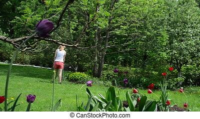 garden watering girl
