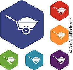Garden wheelbarrow icons set