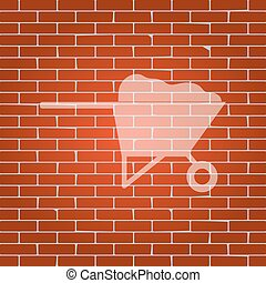 Garden wheelbarrow sign illustration. Vector. Whitish icon on brick wall as background.