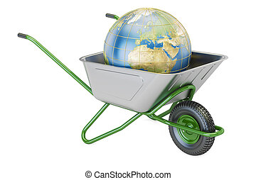 Garden wheelbarrow with Earth Globe, 3D rendering