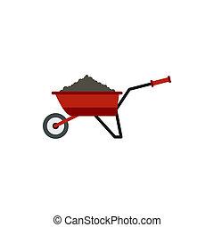 Garden wheelbarrow with earth icon, flat style