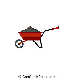 Garden wheelbarrow with earth icon, flat style