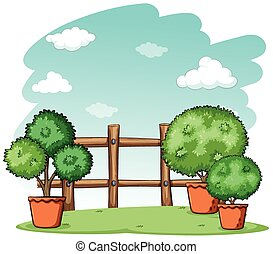 Garden with a fence