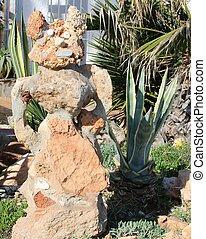 Garden with decorative stones