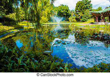 Garden with lake and a swan