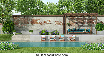 Garden with large pool