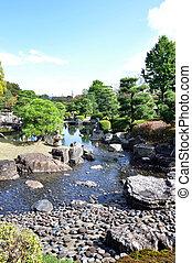 Garden with pond in japanese style in Nijo castle