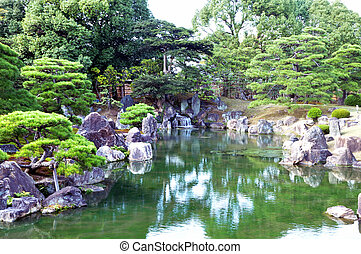Garden with pond in japanese style at Nijo castle, Kyoto,...