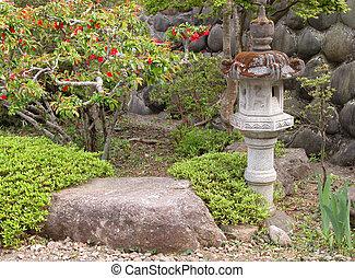 Garden with stone lantern