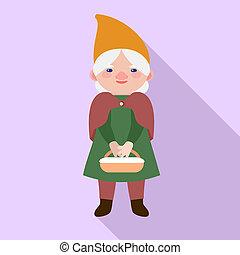 Garden woman gnome icon, flat style