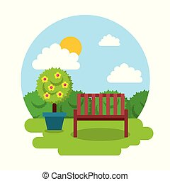 garden wooden bench potted tree floral day sky vector