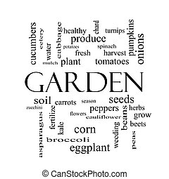 Garden Word Cloud Concept in black and white