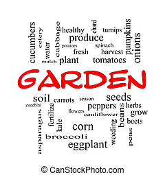 Garden Word Cloud Concept in red caps