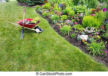 Garden work being done transplanting celosia
