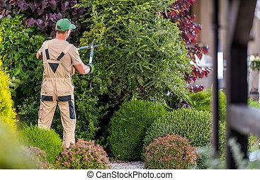 Garden Worker Trimming Decorative Trees