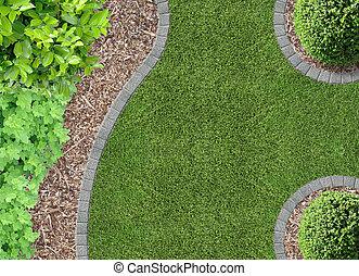 Gardendetail in aerial view