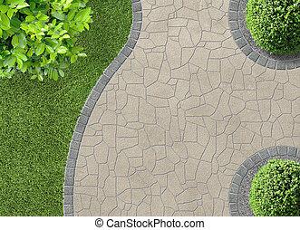 Gardendetail in top view - aesthetic garden design detail in...