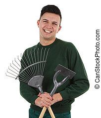 Gardener - a gardener with a rake and a hoe