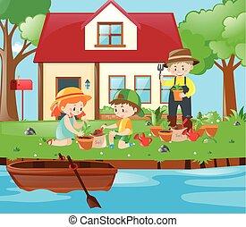 Gardener and kids planting trees in garden
