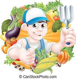 Gardener and Vegetables