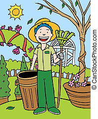 Gardener Cartoon out in the yard taking care of many plants and trees.