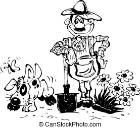 Gardener - Sketch with the gardener and his dog