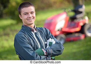 gardener confidently posing