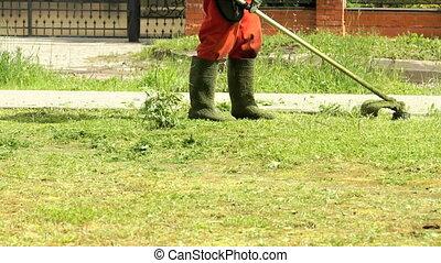 Gardener cutting grass using lawnmower outdoors