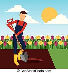 gardener digging a hole with shovel in the garden landscape