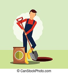 gardener digging hole with shovel gardening image