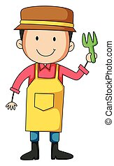 Gardener - Closeup male gardener holding a fork