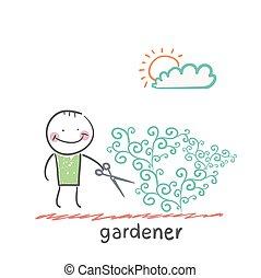 gardener . Fun cartoon style illustration. The situation of...
