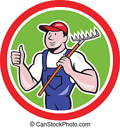 Illustration of gardener organic farmer holding rake facing front with thumbs up set inside circle on isolated background done in cartoon style.