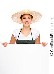 Gardener - Full isolated portrait of a beautiful caucasian...