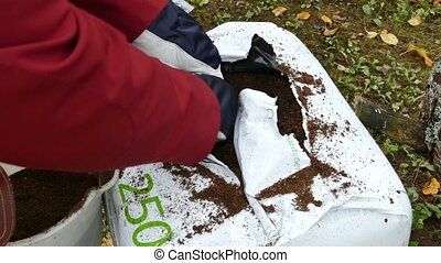 Gardener gets soil from open white plastic bag of peat