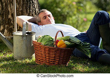 Gardener having a nap