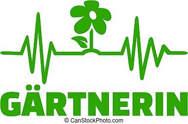 Gardener heartbeat line with female job title german