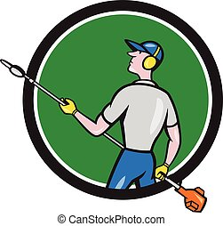 Gardener Hedge Trimmer Circle Cartoon