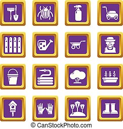 Gardener icons set purple square vector