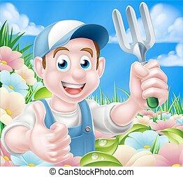 Gardener in Flower Garden