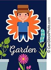 gardener in flower potted plants garden concept