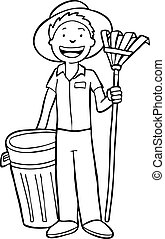 Gardener Isolated Line Art - Gardener Cartoon image isolated...