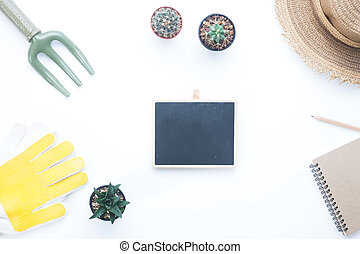 Gardener items with cactus in pot plant, Blank for text in middle