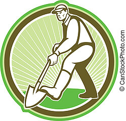 Gardener Landscaper Digging Shovel Circle - Illustration of...