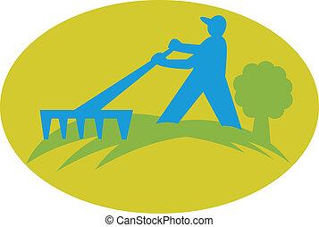 Gardener Landscaper Farmer With Rake