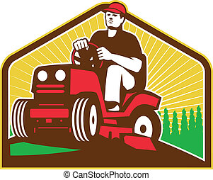Illustration of retro style male gardener riding ride on lawn mower done in retro style.