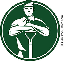 Illustration of male gardener landscaper horticulturist with shovel spade facing front done in retro style set inside circle.