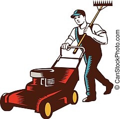Woodcut style illustration of male gardener with lawn mower mowing and holding rake on shoulder set on isolated white background.